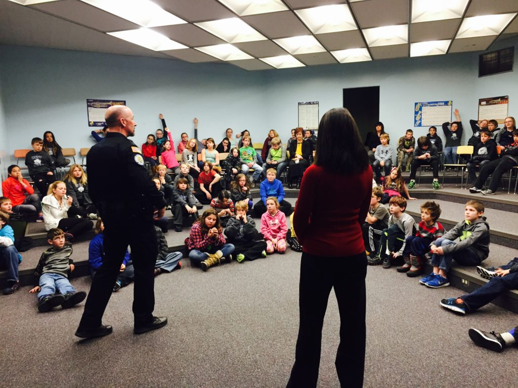 West Elementary 5th graders learning about the dangers of alcohol, tobacco, inhalants, and marijuana with through Butte Cares' Healthy Citizens curriculum with Officer Tim McMahon.